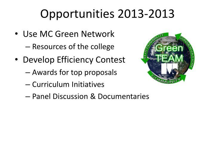 Opportunities 2013-2013
