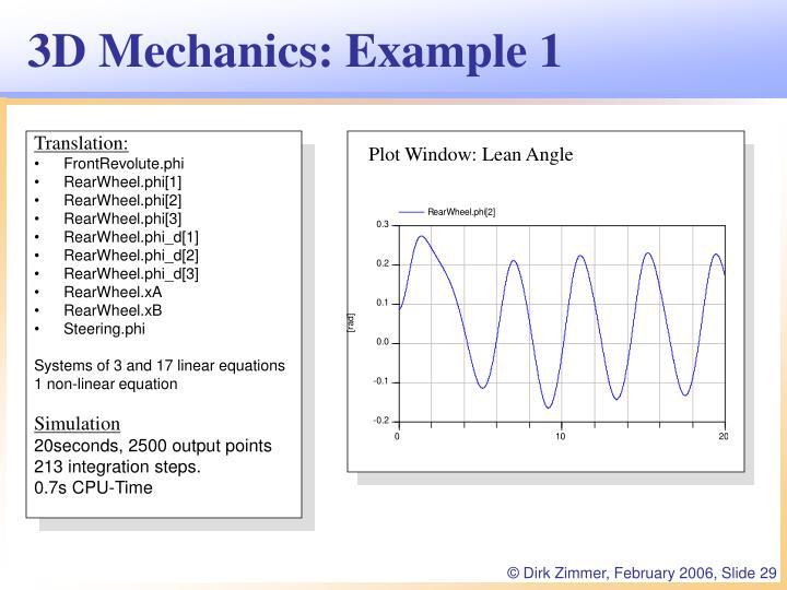 3D Mechanics: Example 1
