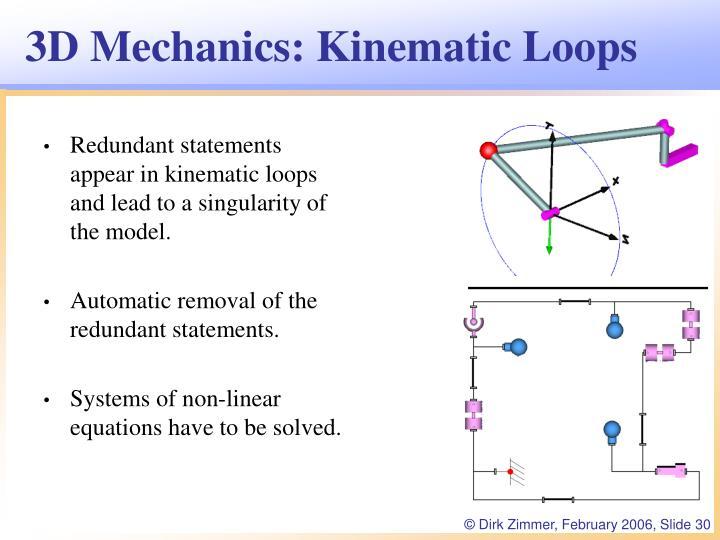 3D Mechanics: Kinematic Loops