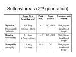 sulfonylureas 2 nd generation