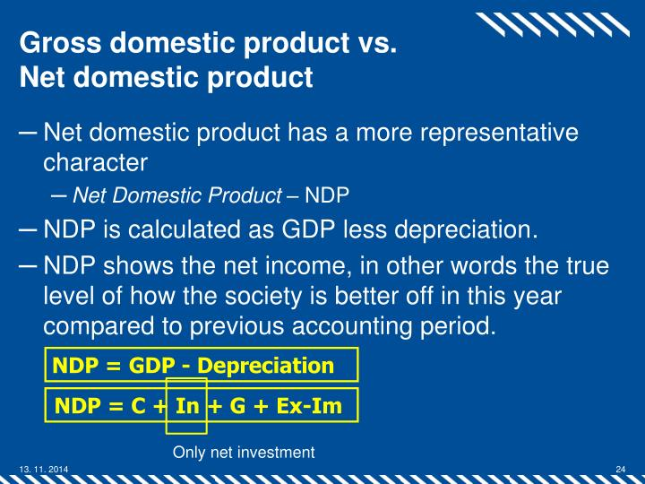 the net domestic products ndp equals the gross dmestic product gdp essay How to calculate gdp gdp stands for gross domestic product and is a measurement of all the goods and services a nation produces in a year  real gdp is equal to the ratio of your nominal gdp divided by 100 as an equation, it starts off like this: nominal gdp ÷ real gdp = deflator ÷ 100  to calculate gdp per capita, take.