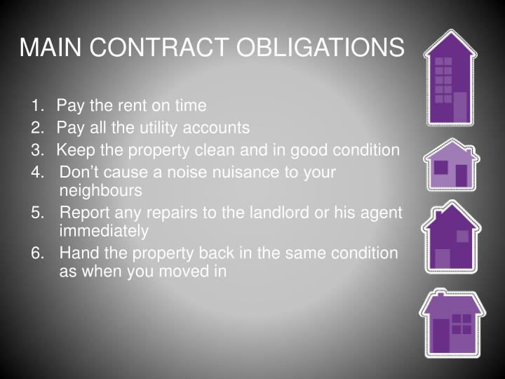 MAIN CONTRACT OBLIGATIONS