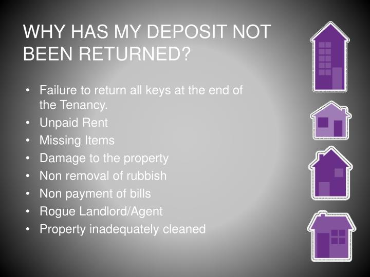 WHY HAS MY DEPOSIT NOT BEEN RETURNED?