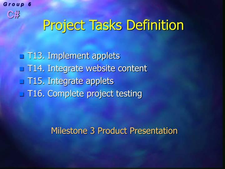 Project Tasks Definition