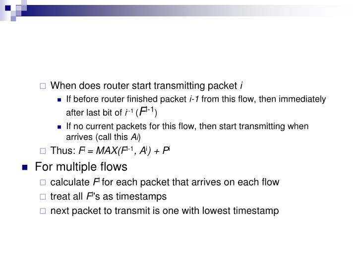 When does router start transmitting packet