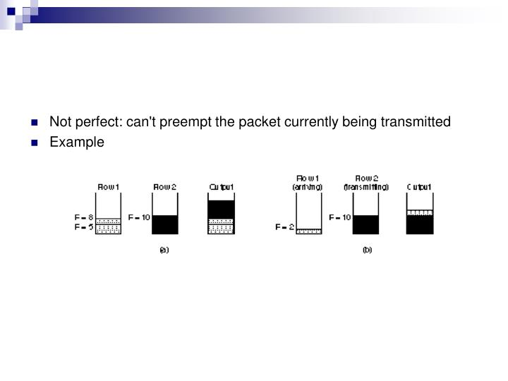 Not perfect: can't preempt the packet currently being transmitted