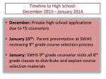 timeline to high school december 2013 january 2014