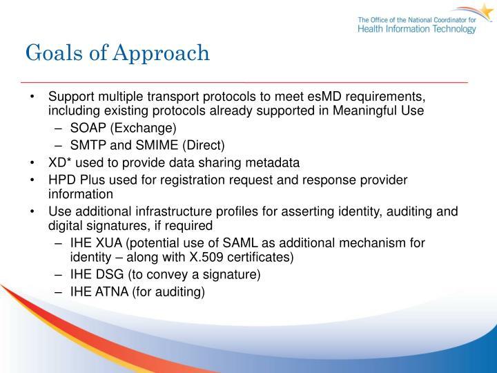 Goals of approach