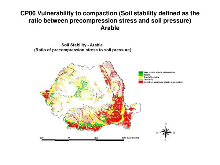 CP06 Vulnerability to compaction (Soil stability defined as the ratio between precompression stress and soil pressure)