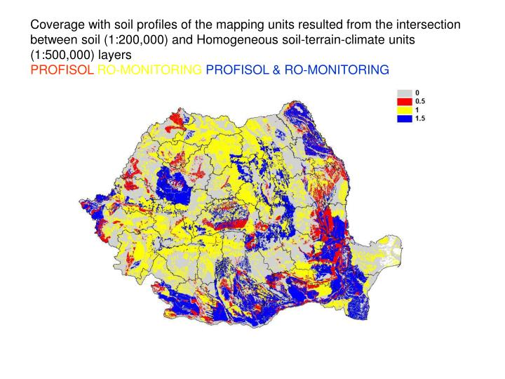 Coverage with soil profiles of the mapping units resulted from the intersection between soil (1:200,000) and