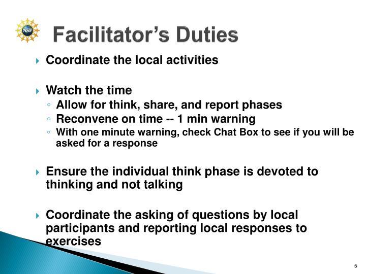 Facilitator's Duties