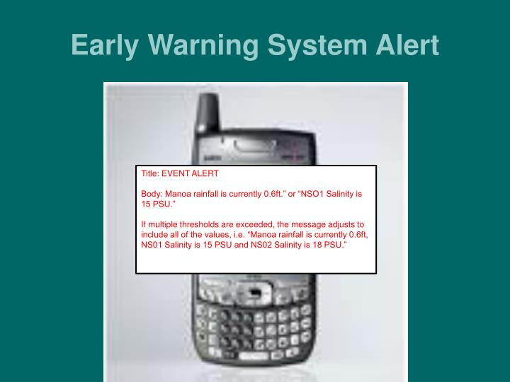 Early Warning System Alert