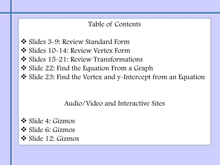 Ppt Graphs Of Quadratic Equations Powerpoint Presentation Id6538358
