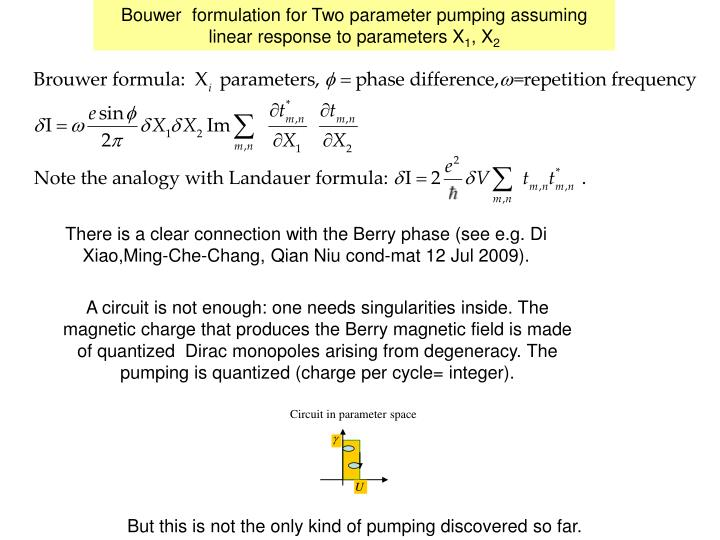 Bouwer  formulation for Two parameter pumping assuming linear response to parameters X
