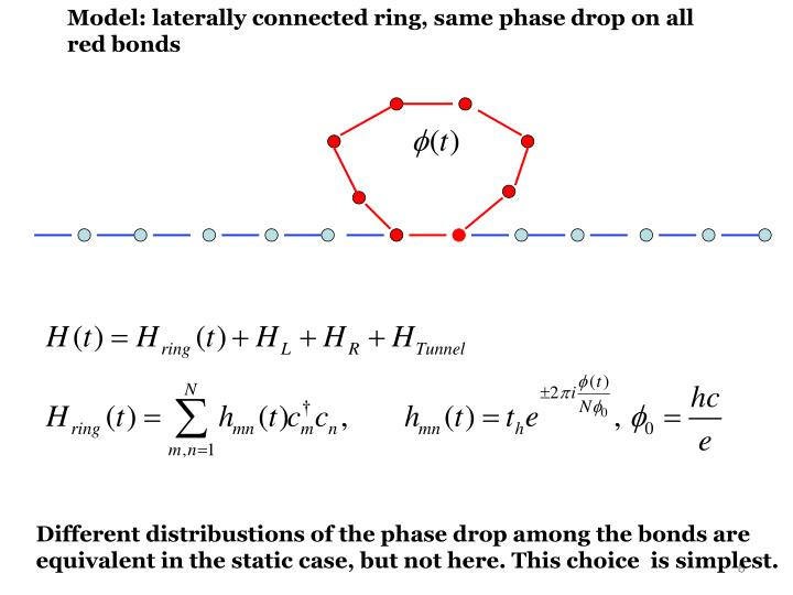 Model: laterally connected ring, same phase drop on all red bonds