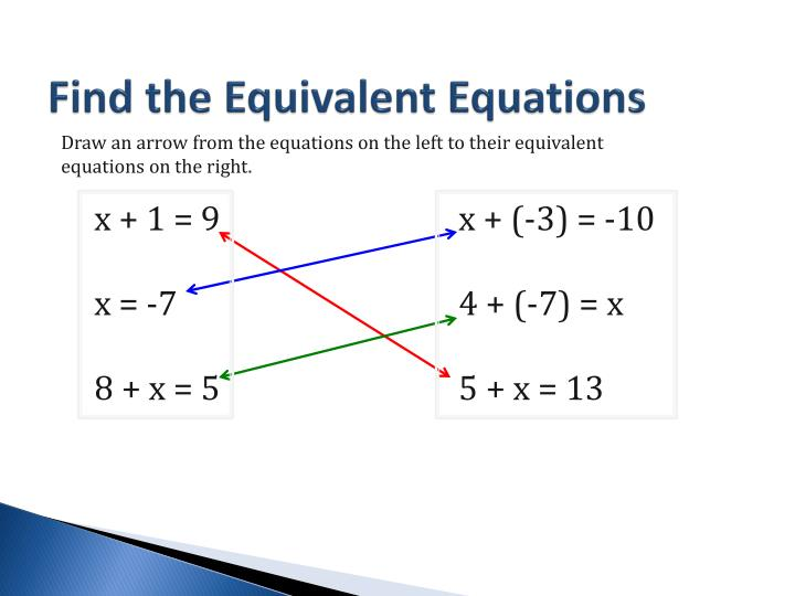 Find the Equivalent Equations