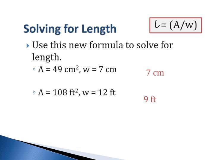 Solving for Length