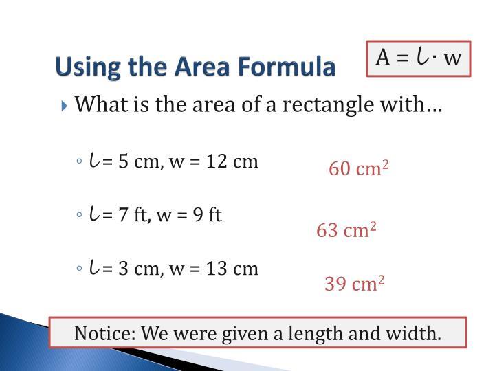 Using the Area Formula