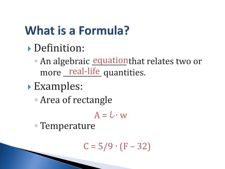 What is a Formula?
