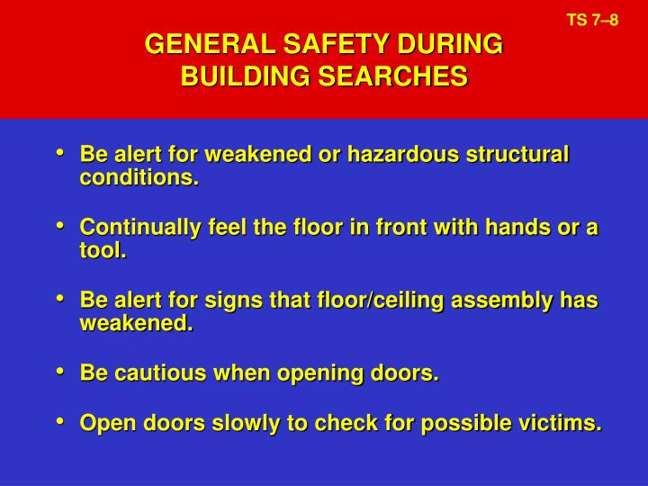 GENERAL SAFETY DURING
