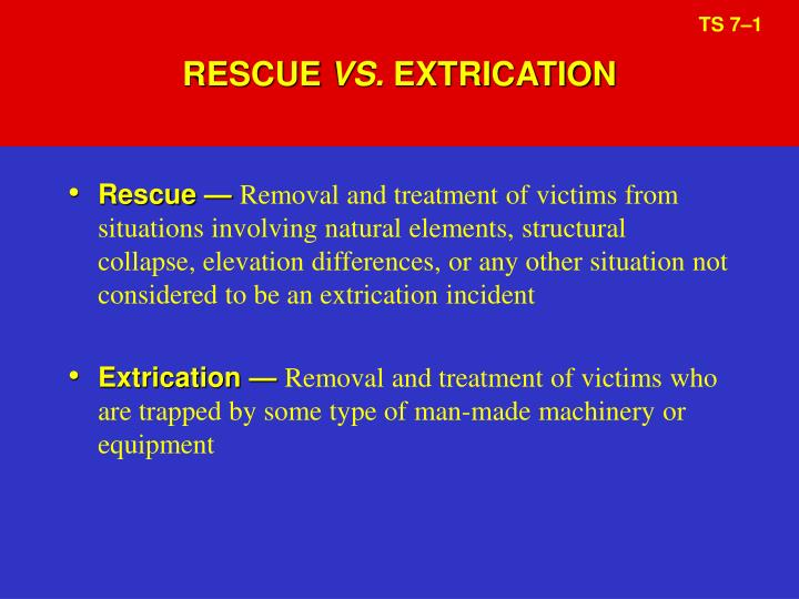 Rescue vs extrication