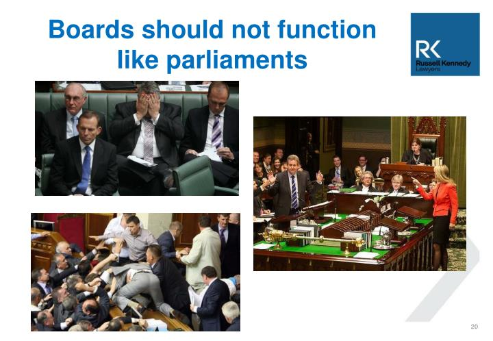 Boards should not function like parliaments