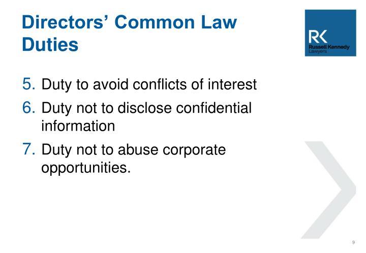 Directors' Common Law Duties