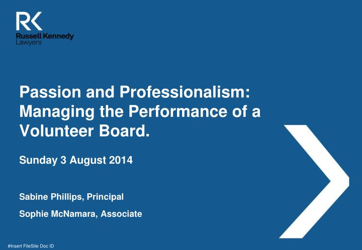 Passion and professionalism managing the performance of a volunteer board