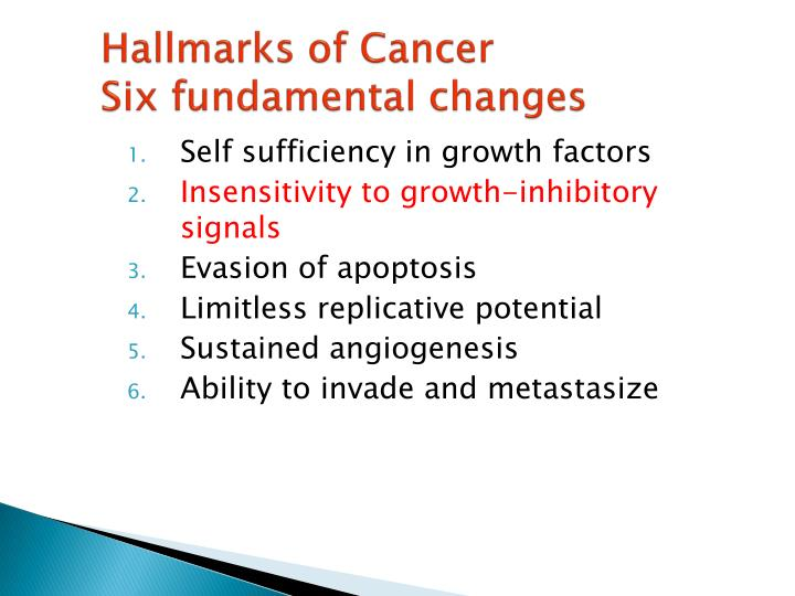 hallmarks of cancer six fundamental changes n.