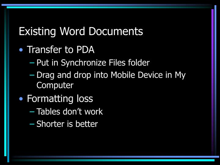 Existing Word Documents