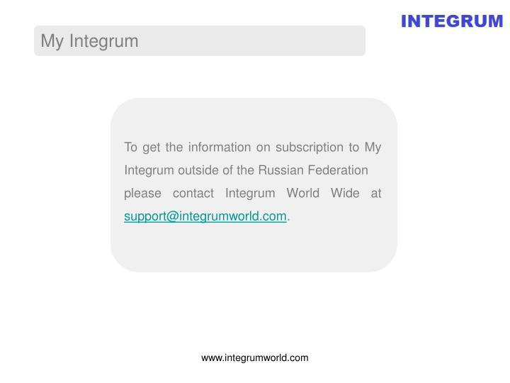 To get the information on subscription to My Integrum outside of the Russian Federation