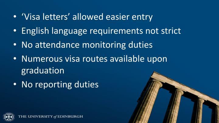 'Visa letters' allowed easier entry