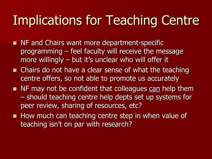Implications for Teaching Centre