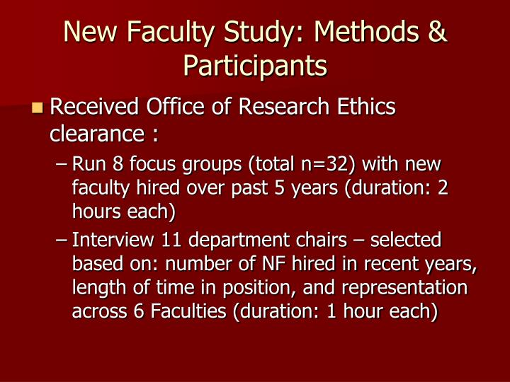 New Faculty Study: Methods & Participants