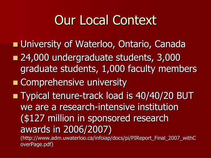 Our local context