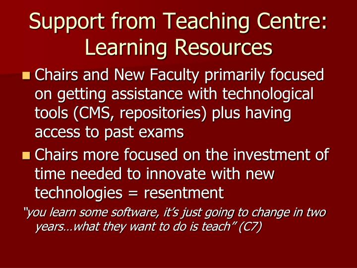 Support from Teaching Centre: Learning Resources