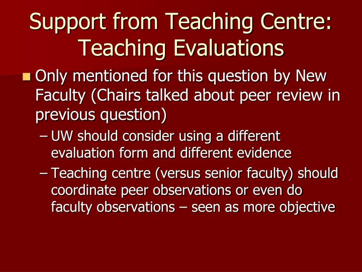 Support from Teaching Centre: Teaching Evaluations