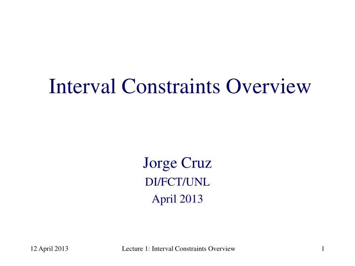 interval constraints overview n.