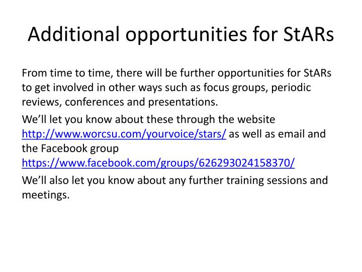 Additional opportunities for