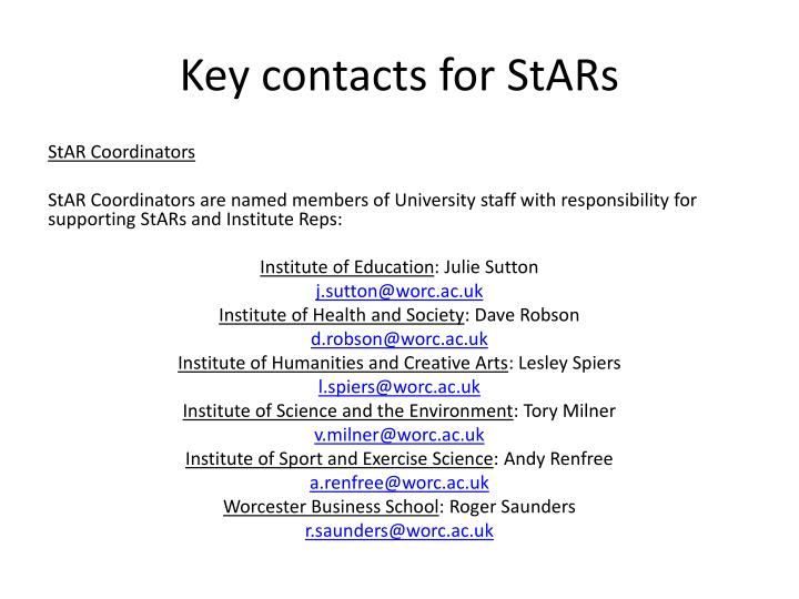 Key contacts for
