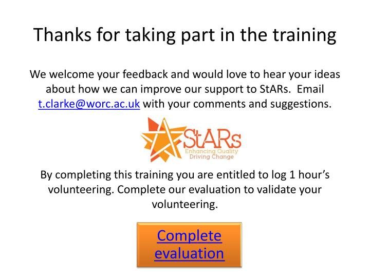 Thanks for taking part in the training