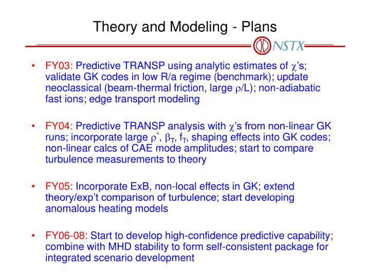 Theory and Modeling - Plans