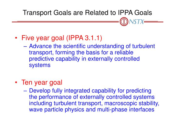 Transport Goals are Related to IPPA Goals