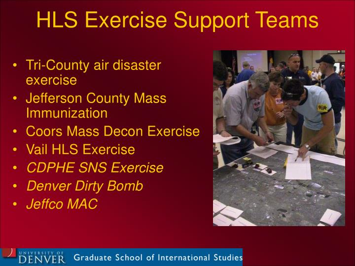 HLS Exercise Support Teams