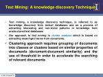 text mining a knowledge discovery technique