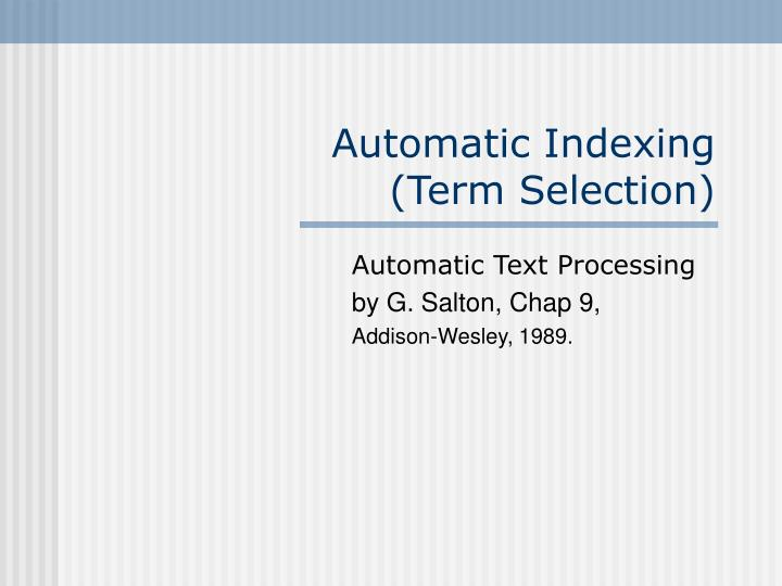 automatic indexing term selection