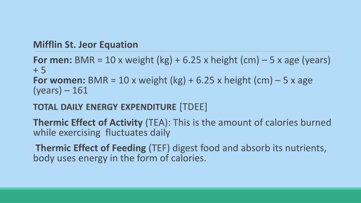 Mifflin St. Jeor Equation