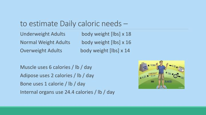to estimate Daily caloric needs –