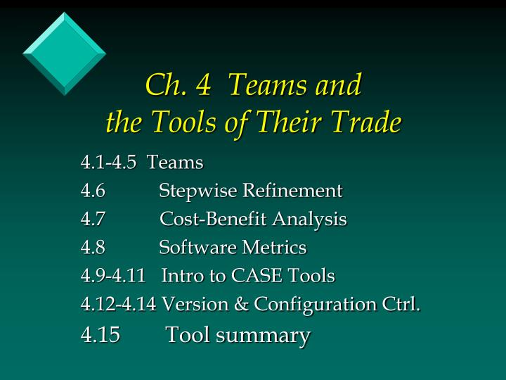 ch 4 teams and the tools of their trade