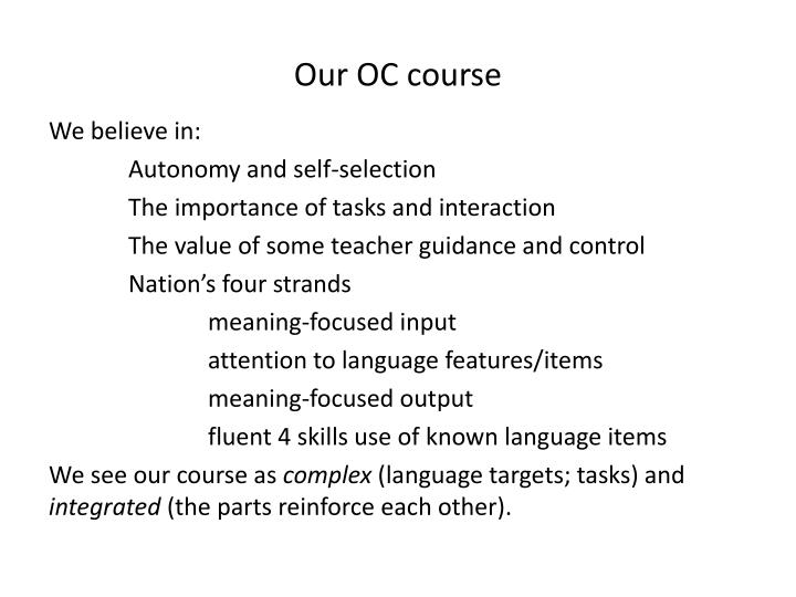 Our oc course